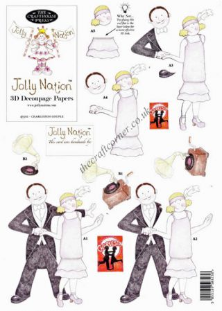 Charleston Couple Jolly Nation Die Cut 3D Decoupage Sheet